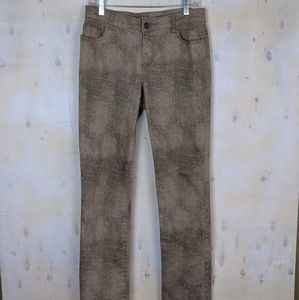 Chico's leopard print distressed boot cut jeans 0